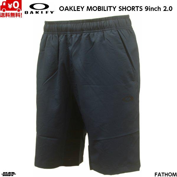画像1: オークリー クロス ウーブン ショートパンツ ネイビー OAKLEY ENHANCE MOBILITY SHORTS 9INCH 2.0 FATHOM 6AC