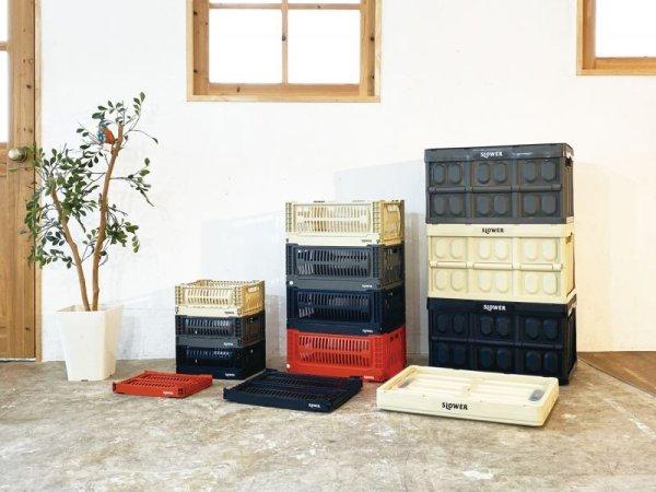 画像2: スロウワー フォールディング コンテナ 折りたたみボックス オリーブ カーキ バスク  Lサイズ